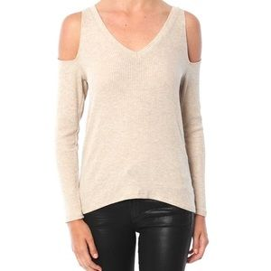 LNA Nix Cold Shoulder Ribbed Sweater V Neck Cream